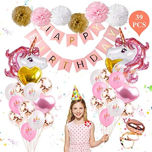 Unicorn Balloons Birthday Party Decorations - Unicorn Birthday Party Supplies Kit, Set of 39 Included Rose Gold Happy Birthday Banner, Gold & Rose Gold Heart Balloons, Paper Pom Poms for Baby Shower/Birthday Party By FengRise]()