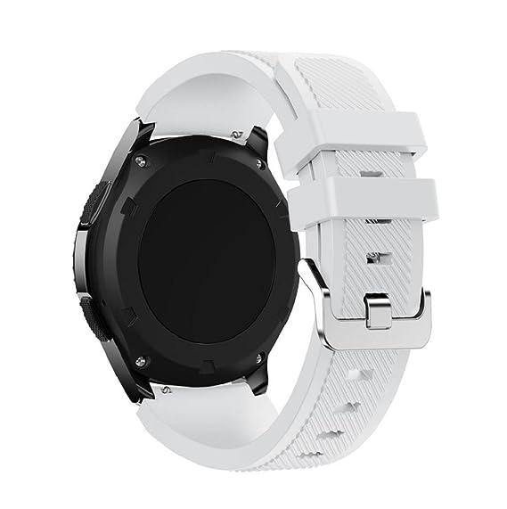 Correas para Samsung Gear S3 Frontier Sannysis Banda de pulsera de silicona deportiva color blanco: Amazon.es: Relojes