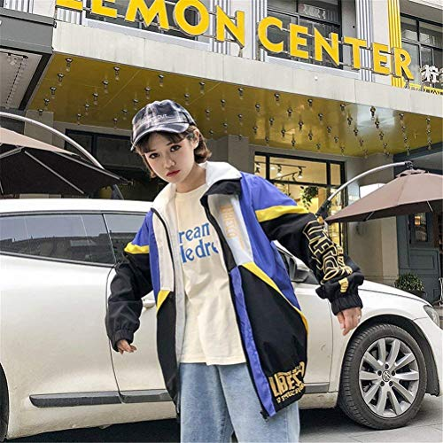 Harajuku Autunno Coat Blau Giacche Fashion Libero Giubbino Chic Outerwear Sciolto Colori Tempo Ragazza Donna Eleganti Maniche Lunghe Stile Stampate Primaverile Digitale Facile Misti Sportivo q7AnpaFqwg