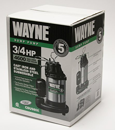 WAYNE CDU980E 3/4 HP Submersible Cast Iron and Stainless Steel Sump Pump With Integrated Vertical Float Switch by Wayne (Image #1)