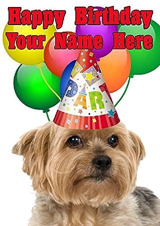 Yorkshire Terrier Hund Party Hat Karte Codeyshe Personalisierte