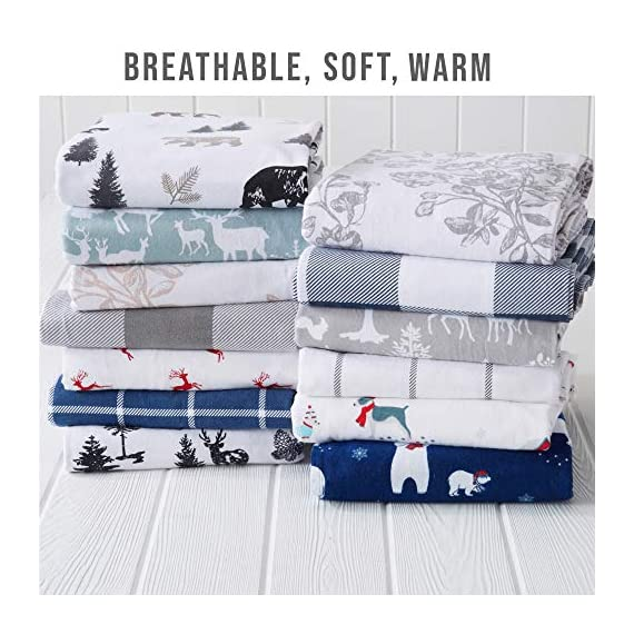 Great Bay Home Extra Soft Printed 100% Turkish Cotton Flannel Sheet Set. Warm, Cozy, Luxury Winter Bed Sheets. Belle Collection (Twin, Pups in The Snow) - TOP QUALITY, AFFORDABLE PRICE: Our premium flannel bed sheets enhance the comfort level of any bed! Mutli-purpose, versatile and extremely high-quality at an unbeatable value. Each set includes 1 fitted sheet, 1 flat sheet and 2 pillowcases (1 pillowcase for Twin size). SUPER SOFT WARMTH: Feel the difference in our 170 GSM 100% Turkish Cotton FLANNEL. These are the BEST WINTER SHEETS you'll ever own! They're SOFT, COZY, WARM, GENTLE and BREATHABLE. Stay warm and toasty on the coldest nights and sleep better than ever. Available in a variety of PRINTED PATTERNS for you to choose from. PERFECT FIT EVERY TIME: These DEEP POCKET sheets come with fully elasticized fitted sheets that fit mattresses up to 17 inches deep. See below for exact measurements. EASY CARE AND EASY WASH: Machine washable, wrinkle resistant, fade resistant, shrink resistant & pill resistant. Extremely DURABLE and LONG LASTING. - sheet-sets, bedroom-sheets-comforters, bedroom - 51Nqao9Y7JL. SS570  -