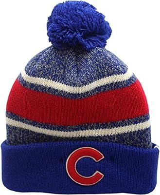 Chicago Cubs Knit Hat Cuffed Pom Fairfax C Logo Block 13021