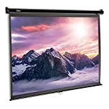 VonHaus 80-Inch Pull-Down Projector Screen | 16:9 Aspect Ratio | 1.1 Screen Gain Rating – Home Cinema/Theatre | for Wall or Ceiling Mounting