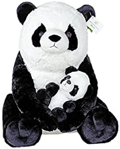 Exceptional Home Zoo 18-Inch Giant Panda with Baby Panda Plush Toys