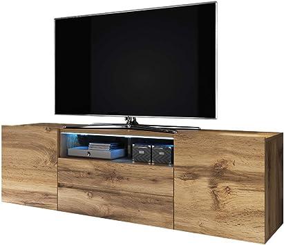 Selsey Bros - Mueble TV Minimalista/Mesa TV/Mueble para Salón/Mueble TV Moderno (con LED, Roble Dorado): Amazon.es: Electrónica