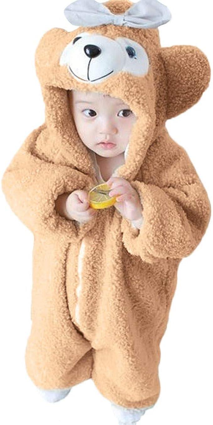 DDKK Kids Romper Clothes Jumpsuit Winter Warm Coat 3M-24M Cartoon Fleece Bear Ears Hoodie Infant Baby Girls Boys