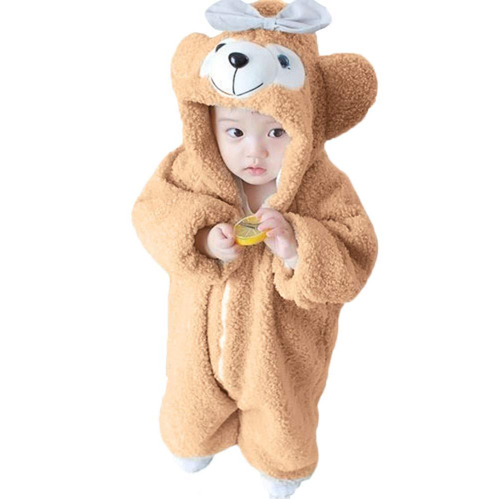 Sikye 新生児 赤ちゃん 男の子 女の子 ボディスーツ フード付き フリース ロンパース カートゥーン ベアー 耳 暖かいジャンプスーツ 90 (2-3Years) カーキ B07HKFFWCF