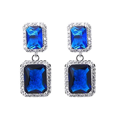 Emerald Cut Blue Color Cubic Zirconia CZ Dangle Chandelier (Emerald Cut Dangle)
