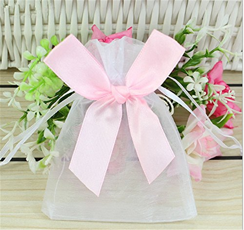 Organza Gift Bags Drawstring Jewelry Pouches Silver Chain Bowknot Wedding Party Favor Bags 3