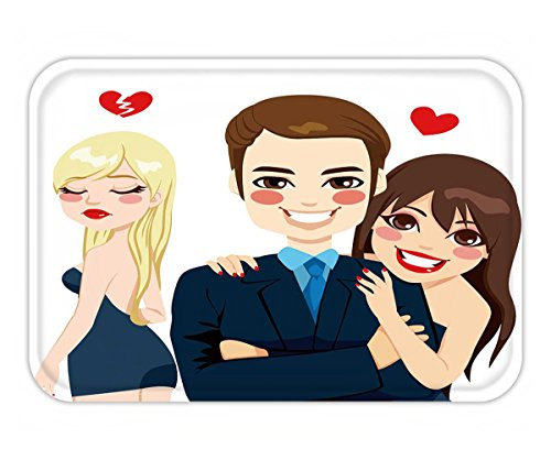 Beshowere Doormat handsome man and beautiful brunette laughing happy and sad blonde woman in the background (Brunette Superheroes)