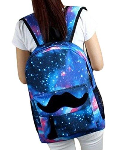 Star Cool Belt Buckle - Fansela(TM) Big Beard Canvas Galaxy Backpacks For Teenage Girls Blue