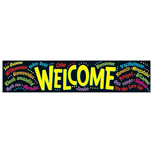 Trend Enterprises T-25038BN 3 Each 5 ft. Welcome Multilingual Quotable Expressions Banner