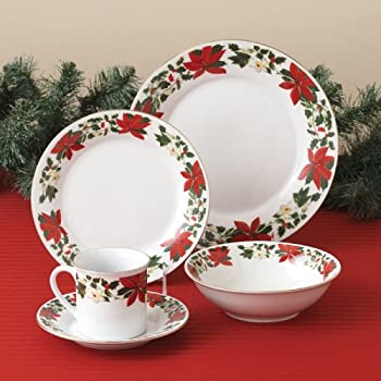 Gibson Dinnerware Poinsettia Holiday 20 Piece Set & Amazon.com | Gibson Dinnerware Poinsettia Holiday 20 Piece Set ...