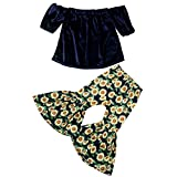 12M-4T,Yamally Baby Girls Toddler Off Shoulder Tops for Girls with Flare Pants Outfits Dark Blue