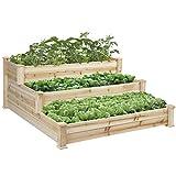 New Wooden 3 Tier Elevated Planter Kit Outdoor Gardening Raised Vegetable Garden Bed