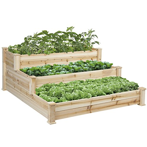 Step Stair Design 3 Tier Outdoor Elevated Raised Vegetable Garden Is Perfect For Growing Your Plants And Vegetables (Design Ideas Wooden Step Patio)