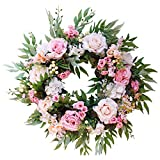 HEBE 22 Inch Large Artificial Rose Flower Wreath for Front Door Floral Simulation Flowers Garland Weclome Front Door Wreath Indoor Outdoor Wedding Window Wall Home Holiday Decor All Year Around