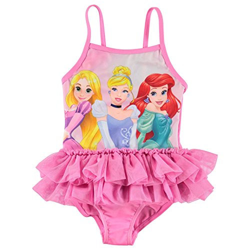 Character Kids Swimsuit Infant Girls Swimming Elasticated Neckline Clothing Disney Princess 5-6 yrs (Piece One Disney Swimsuit)