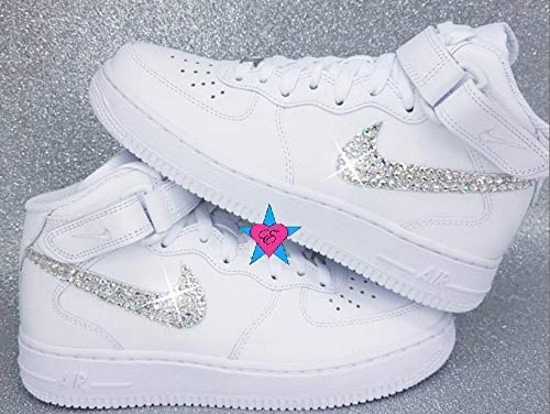 buy popular f5c92 d66a3 Amazon.com  Bling Sneakers Force 1  Bedazzled White Nike Air Force Ones    Crystal Air 1s Youth 4-7    Handmade