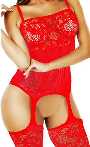 Daisland Women Crotchless Bodysuit Fishnet Bodystocking Adult Sleepwear Lingerie (Plus, 0332 - Day Free 1 Shipping