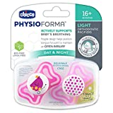 Chicco PhysioForma Light Day & Night Including Glow in Dark Pacifier for Babies 16-24 Months, Pink, Orthodontic Nipple, BPA-Free, 2-Count in Sterilizing Case
