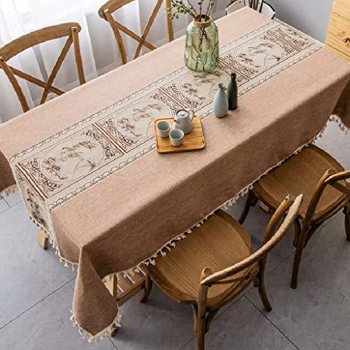 B 100160cm Nappe Imperméable ZYL Nappe En Coton Brodé Nappe De Table En Coton Moderne Minimaliste Thé Cérémonie Table Basse Nappe Grande Taille Nappe Drapeau Frangé Beauté Jardin ( Couleur   B , Taille   1001
