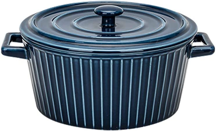 MDZF SWEET HOME Ceramic Baking Bowl for Oven Large Round Casserole Noodle Bowl Bakeware with Handle and Lid, Blue