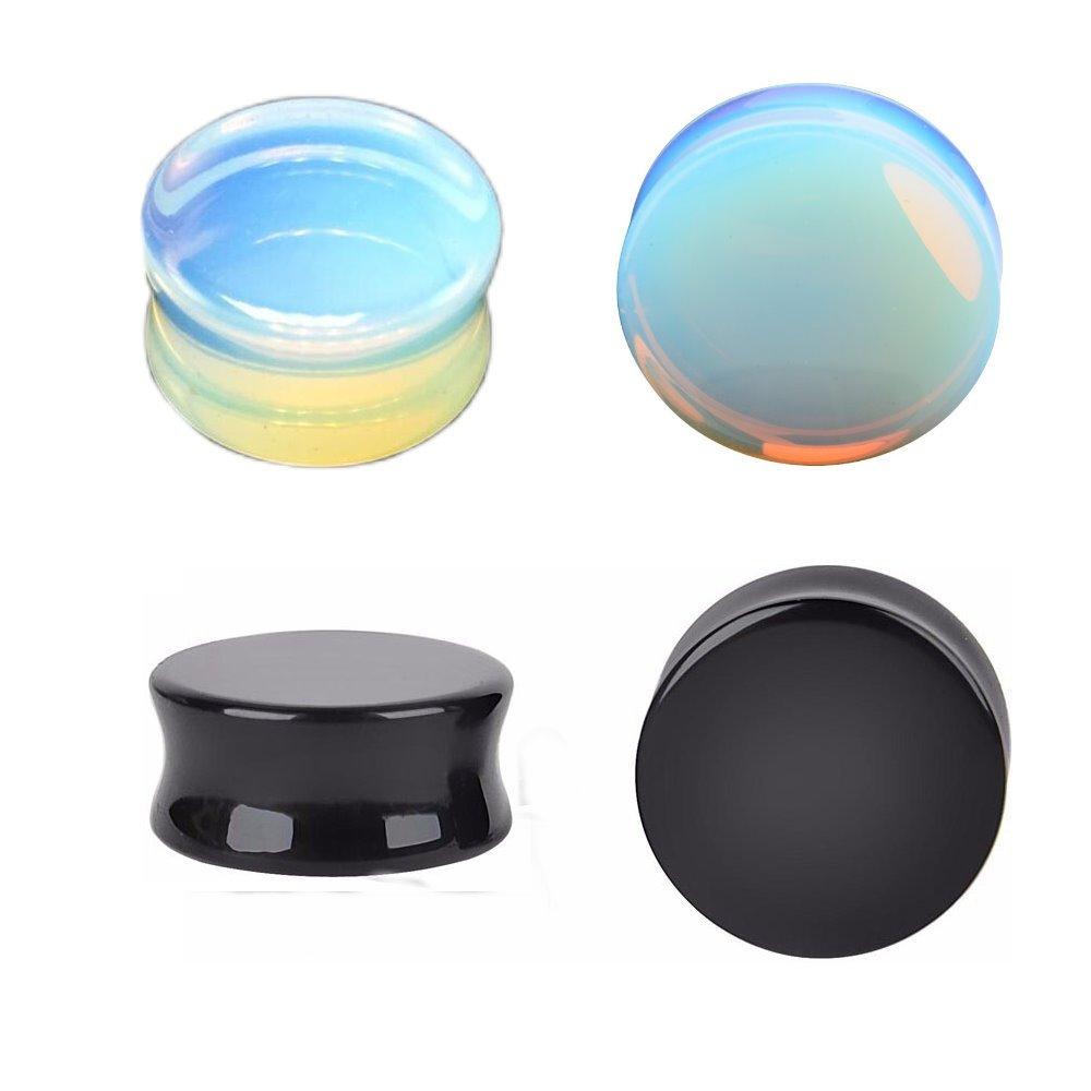 Kokoma Opalite Moonstone Ear Plugs (Plug gauge=25mm(1''))