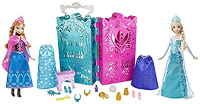 Disney Frozen Dual Vanity with Sparkle Princess Anna and Elsa Doll Gift Set