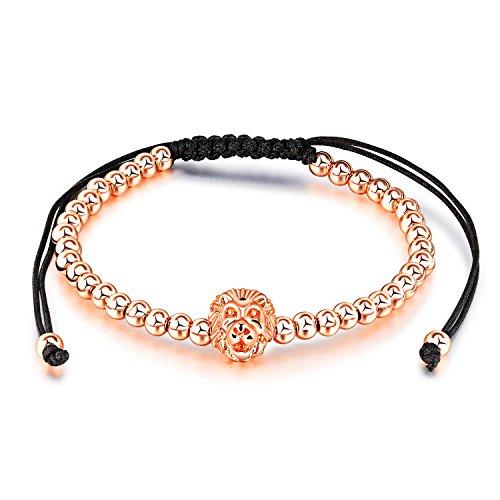 LOHOME Fashion Bracelets Lion's Head Rhinestone Charm Adjustable Bead Chain Cuff Bangle for Womens Unisex