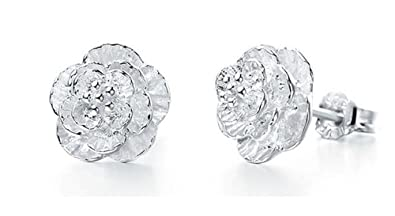 52a05397a Image Unavailable. Image not available for. Colour: Silver Shoppee Flower Sterling  Silver Stud Earrings For Girls