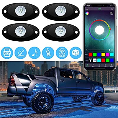 LED RGB Rock Lights Underglow Neon Lighting Kit with App Remote Control Waterproof for Truck Off Road Jeep SUV RZR UTV, 2 Year Warranty: Automotive