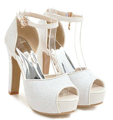 Bride Paillettes Bling Femme Sandales Blanc Aisun Cheville Belle Fille 1wqpSBt