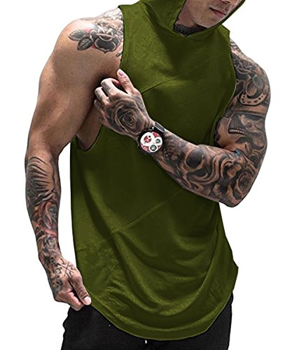 Huiyuzhi Mens Workout Fitness Gym Tank Top Sleeveless Hoodies with Pocket (XL, A Army Green)