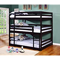Coaster Sandler Collection 400309 Full Size Triple Bunk Bed with Solid Pine Wood Construction in Cappuccino