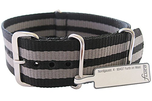 Fluco 22mm Black Grey Stripe Nylon G10 2-Piece Watch Strap