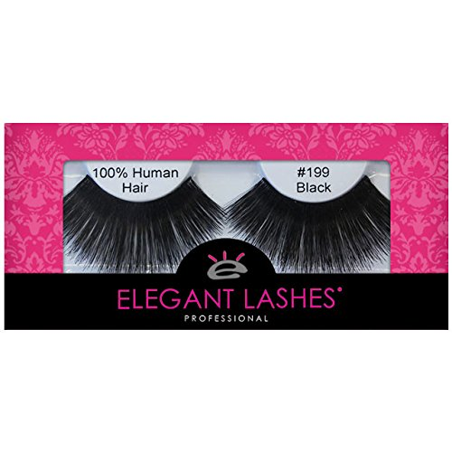 [Elegant Lashes #199 Black (Triple Pack - 3 Pairs) | Thick Super-Long 100% Human Hair False Eyelashes for Dancers, Drag Queen, Halloween, Costume, Rave] (Drag Artists Costumes)