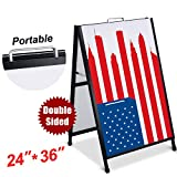 T-SIGN Heavy Duty Portable A-Frame Sidewalk Curb Sign, 24'' x 36'' Slide-in Folding Black Coated Steel Metal Double-Sided with Two Corrugated Plastic Poster Boards for Outdoor Advertisement Use
