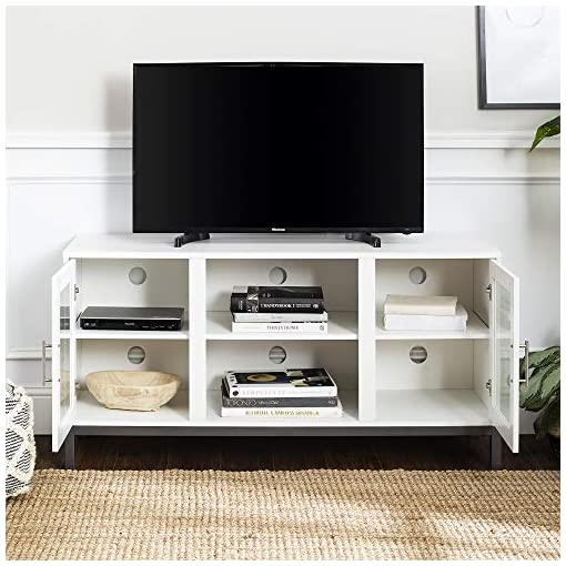 Living Room Walker Edison Modern TV Stand with Storage Cabinets for TV's up to 56″ Living Room Storage modern tv stands