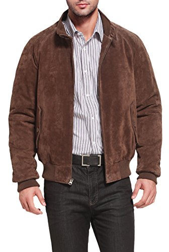 Landing Leathers Men's WWII Suede Leather Bomber Jacket - L Brown