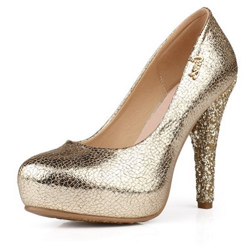 AmoonyFashion Womens Closed Round Toe High Heel PU Micro Fiber Solid Pumps with Sequin Gold