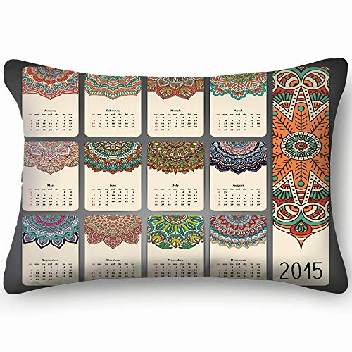 Vintage Calendar Round Ornament Abstract Islam Cotton Linen Blend Decorative Throw Pillow Cover Cushion Covers Pillowcase Pillow Shams, Home Decor Decorations for Sofa Couch Bed Chair 20X36 Inch