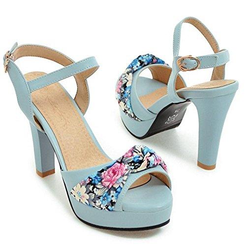 Chunky blue JOJONUNU Sandales Femmes Talons E0Bwqvg