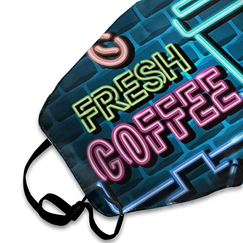 COMputer998 Fresh Coffee Advertising Sign Neon Light Face Mask Dust Mask Anti Pollution Unisex Mouth Mask,Washed Reusable Polyester Face Mask,Can Be Repeatedly Used