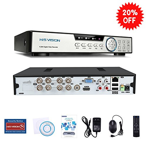 Digital Hybrid Rackmount (HISVISION 8CH 1080N AHD DVR 5-in-1 Hybrid (1080P NVR+1080N AHD+960H Analog+TVI+CVI)CCTV 8-channel HDMI QR Code Scan Easy Remote View Email Alerts Home Security Surveillance Camera System(No HDD))