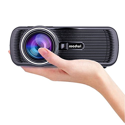Roadwi Movie Projector Mini Portable Projector Support 1080P HDMI AV VGA USB SD TV