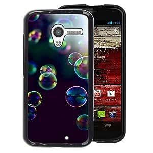 A-type Arte & diseño plástico duro Fundas Cover Cubre Hard Case Cover para Motorola Moto X 1 1st GEN I (Bubbles Yellow Purple Nature Black)