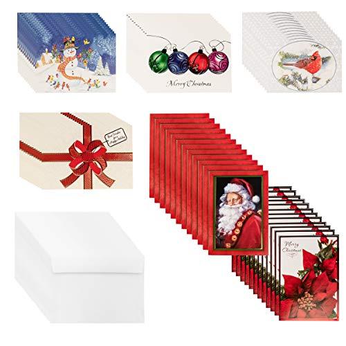 Designer Greetings (72 count) Boxed Christmas Cards & Envelopes Holiday Greetings Bulk Sets Glitter Foil ()