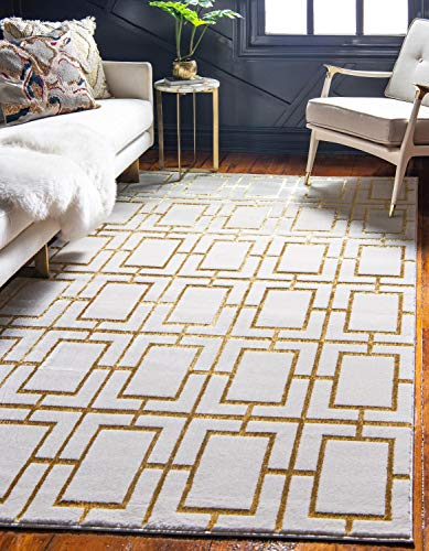 Dark Gold Area Rug - Unique Loom Marilyn Monroe Glam Collection Textured Geometric Trellis White Gold Area Rug (9' x 12')
